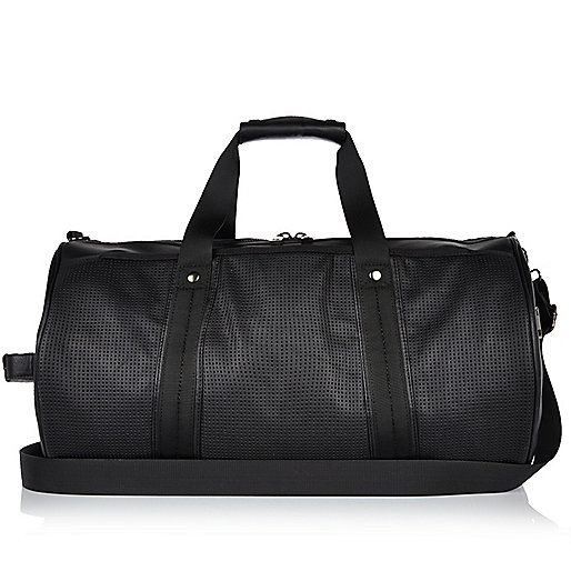 Black perforated holdall bag