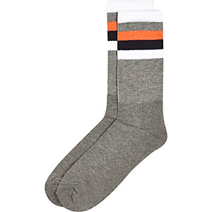 Grey stripe ankle socks