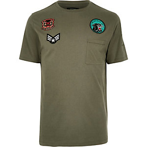 Khaki badge T-shirt