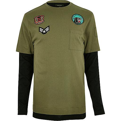 Khaki layered longline long sleeve T-shirt