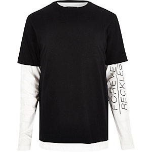Black layered longline long sleeve T-shirt
