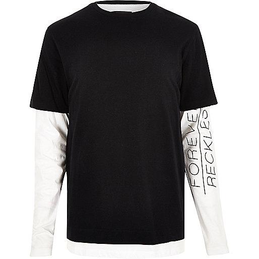 Black layered longline long sleeve T-shirt