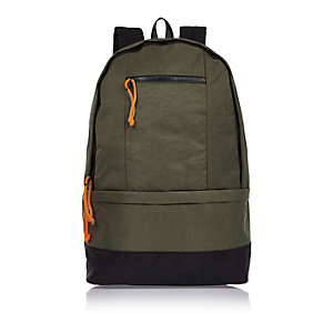 Dark green nylon backpack