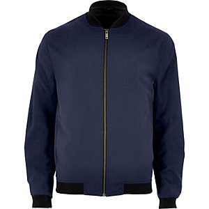 Petrol blue formal bomber jacket