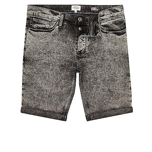 Black acid wash skinny fit denim shorts
