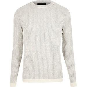 Light grey contrast hem sweater