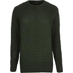 Dark green chunky waffle sweater