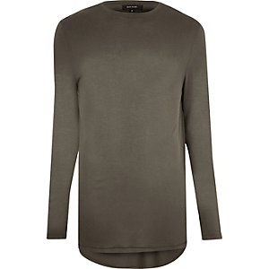 Khaki longline long sleeve T-shirt