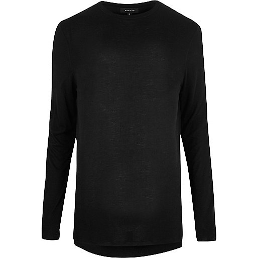T-shirt long noir à manches longues