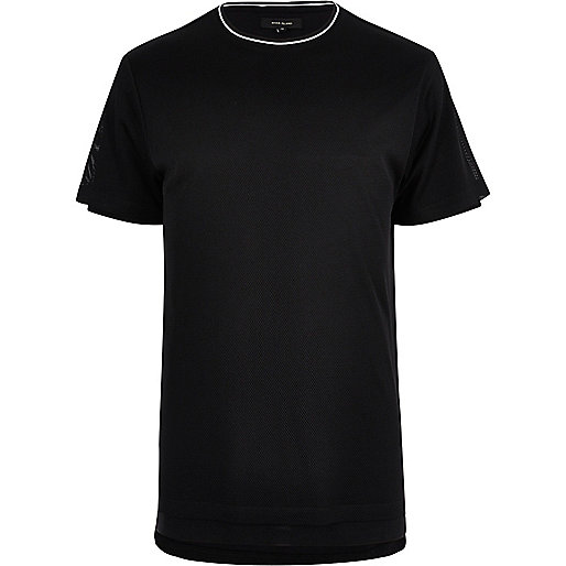 Schwarzes, langes Mesh-T-Shirt