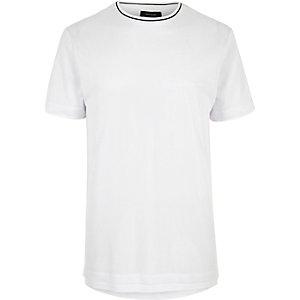 White longline mesh T-shirt