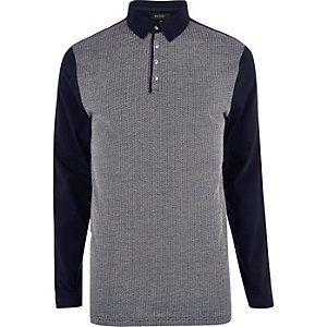 Navy contrast long sleeve polo shirt