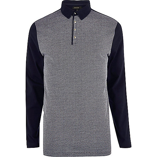 Navy contrast long sleeve polo shirt