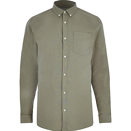 Green casual oxford shirt