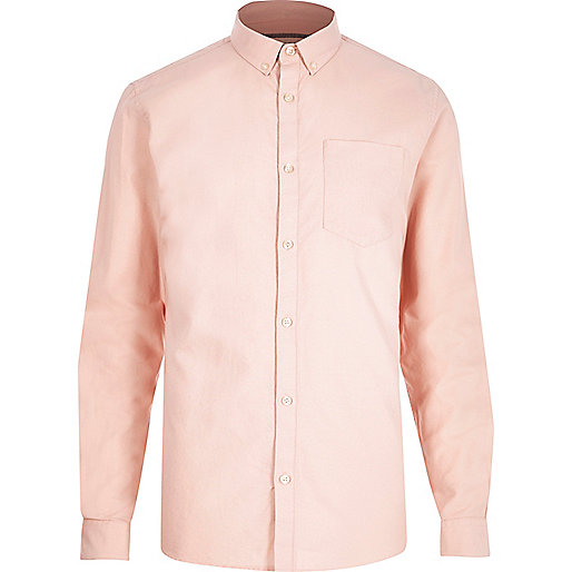 Salmon pink casual oxford shirt long sleeve shirts for Pink oxford shirt men
