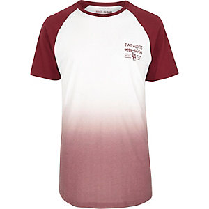 Dark red faded print longline T-shirt