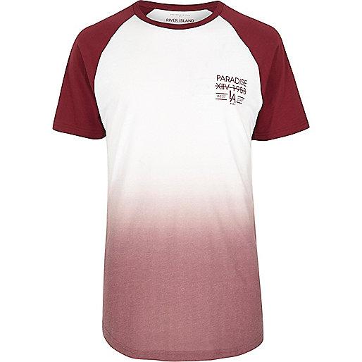 Dark red faded print longline T-shirt