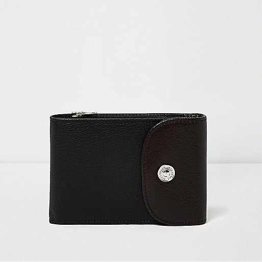 Black wrap wallet with popper