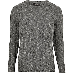 Dark grey ribbed jumper