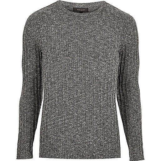 Dark grey ribbed sweater