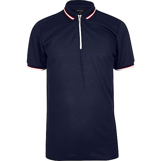 Navy slim fit zip polo shirt