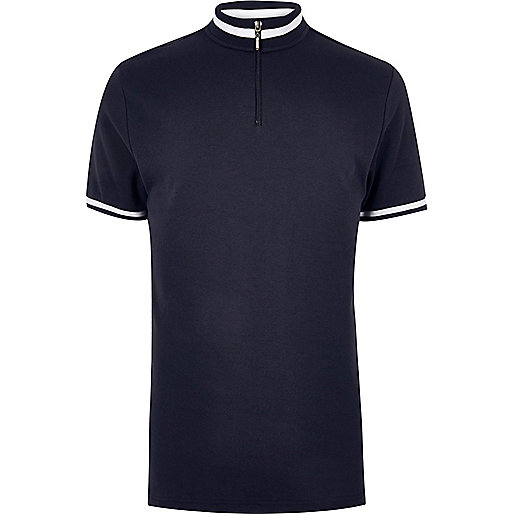 Navy slim fit turtle neck polo shirt