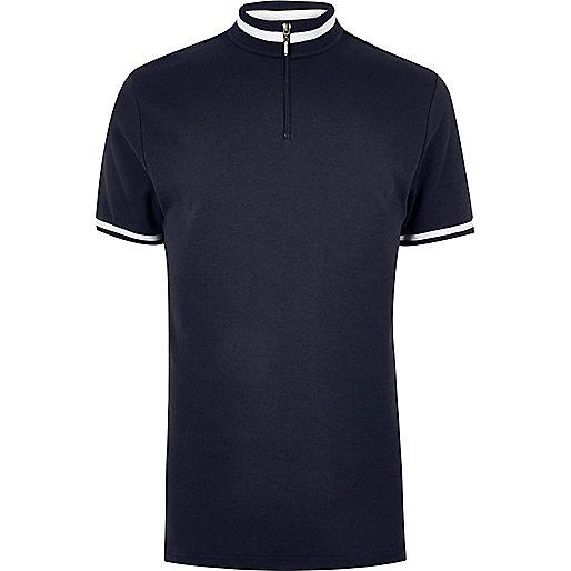 Marineblaues Slim Fit Polohemd mit Rollkragen