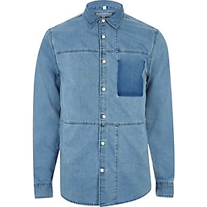 Blue denim panel shirt