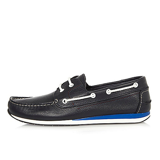 Navy leather sporty boat shoes