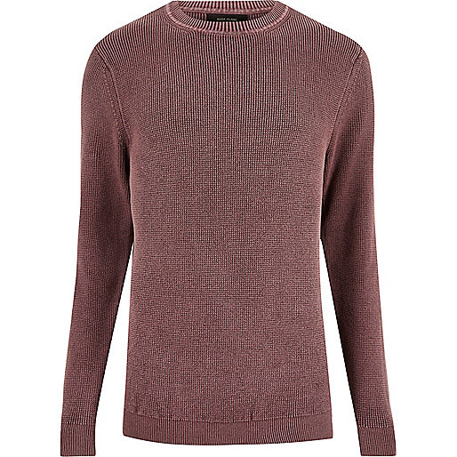 Washed pink ribbed detail sweater