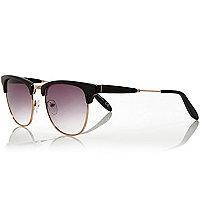 Black and gold tone flat top sunglasses