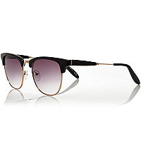 Black and gold tone flat top sunglasses