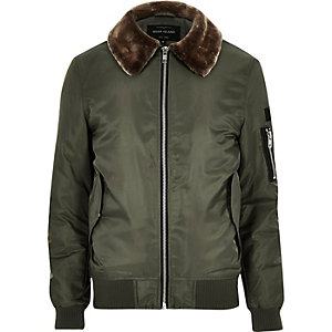 Khaki faux fur collar aviator jacket