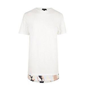 White camo hem longline T-shirt