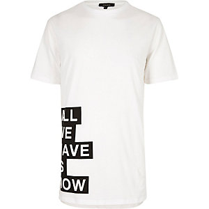 White longline side print T-shirt