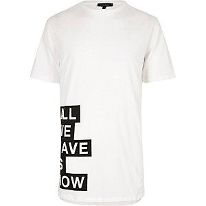 White longline side print T-shirt