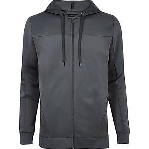 Sweat gris zippé avec empiècement en tulle à capuche