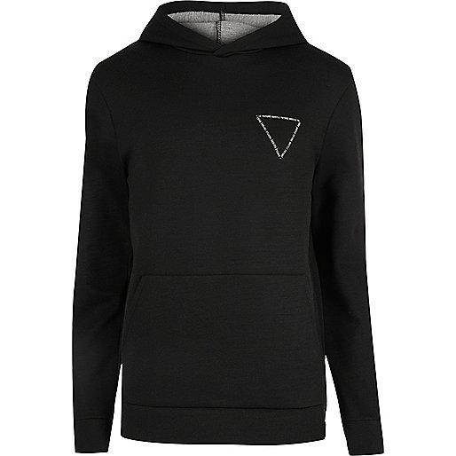 Black triangle print hoodie
