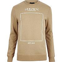 Brown printed crew long sleeve sweater