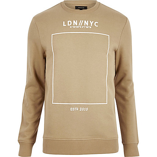 Brown printed crew long sleeve jumper