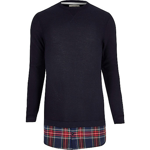Navy check insert double layer sweater