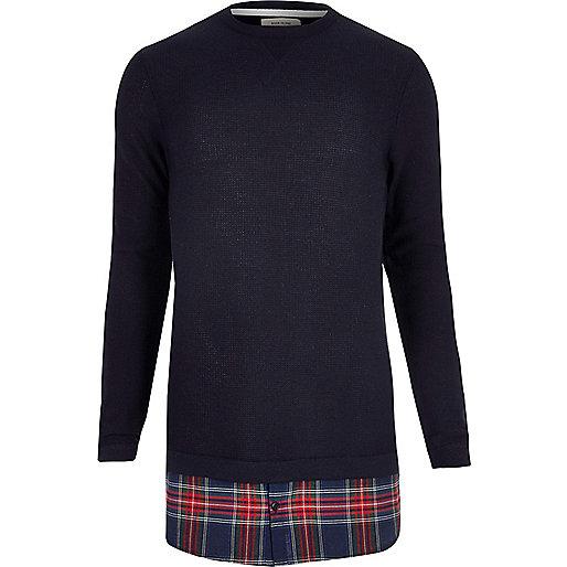 Navy check insert longline sweater