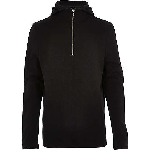Black zip funnel neck hoodie