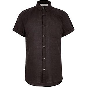 Black linen-rich short sleeve shirt