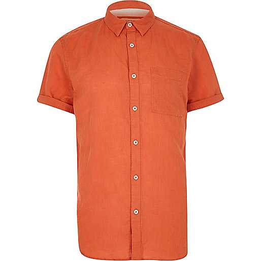 Red linen-rich short sleeve shirt