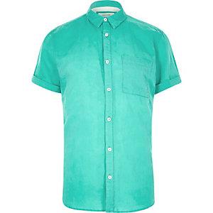 Turquoise linen-rich short sleeve shirt