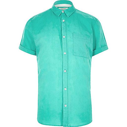 Chemise en lin majoritaire turquoise à manches courtes