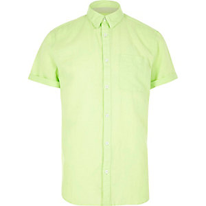 Neon linen-rich short sleeve shirt