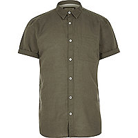 Khaki linen-rich short sleeve shirt