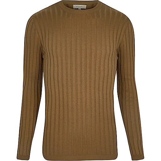 Light brown chunky ribbed muscle fit top